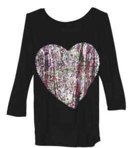 Sequin Floral Heart Tee