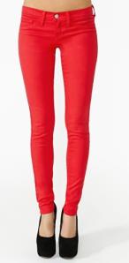 Nasty Gal Red Skinny Jeans
